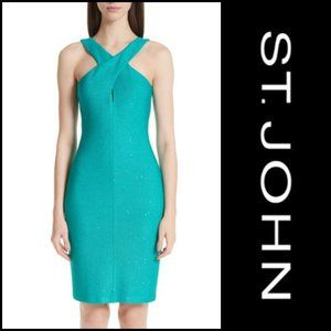 ST. JOHN Blake Sequin Knit Dress Lagoon NWT 16